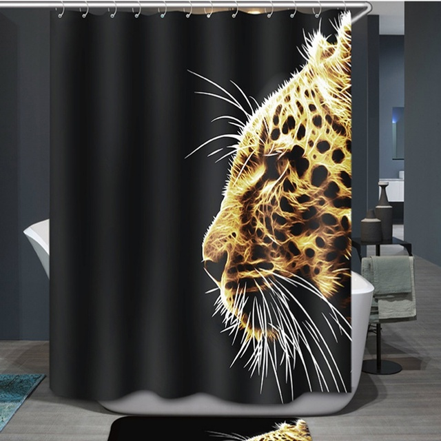 180x180cm3D Waterproof Personalized Special Effect Leopard Head Wild Animal Print Shower Curtain Bath With Hooks