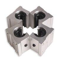 4 X SBR12UU 12mm Aluminum Linear Motion Router Bearing Block Silver