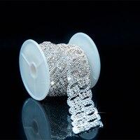 1 Yard Clear Rhinestone Crystal Silver Chain Fashion Bridal Applique Clothing