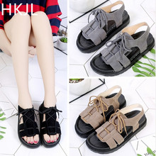 HKJL Casual womens flats student sandals 2019 summer gladiator with straps The bottom of the sponge open-toed A026