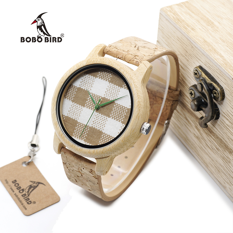 BOBO BIRD WA28 Vintage Round Ladies Bamboo Wood Quartz Watches With Fabric Dial Women Watches Top