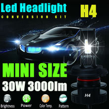 H4 9003 HB2 12V 24V 30W 3000Lm Led Headlight Bulb Headlamp Kit 6000K White High Power Light Lamp Replace Xenon Hid Halogen Fog
