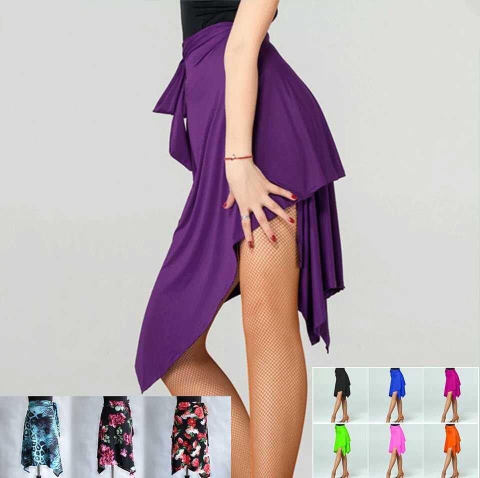 Многоцветная Женская юбка для латинских танцев на продажу, Adlut Cha/Rumba/Samba/Tango, платья для занятий танцами/Performamnce, Одежда для танцев