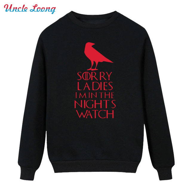 Male Night's Watch Tops Men Round Neck Long Sleeve Winter Style Game of Thrones Vintage Boy Fleece Hoodies Sweatshirt