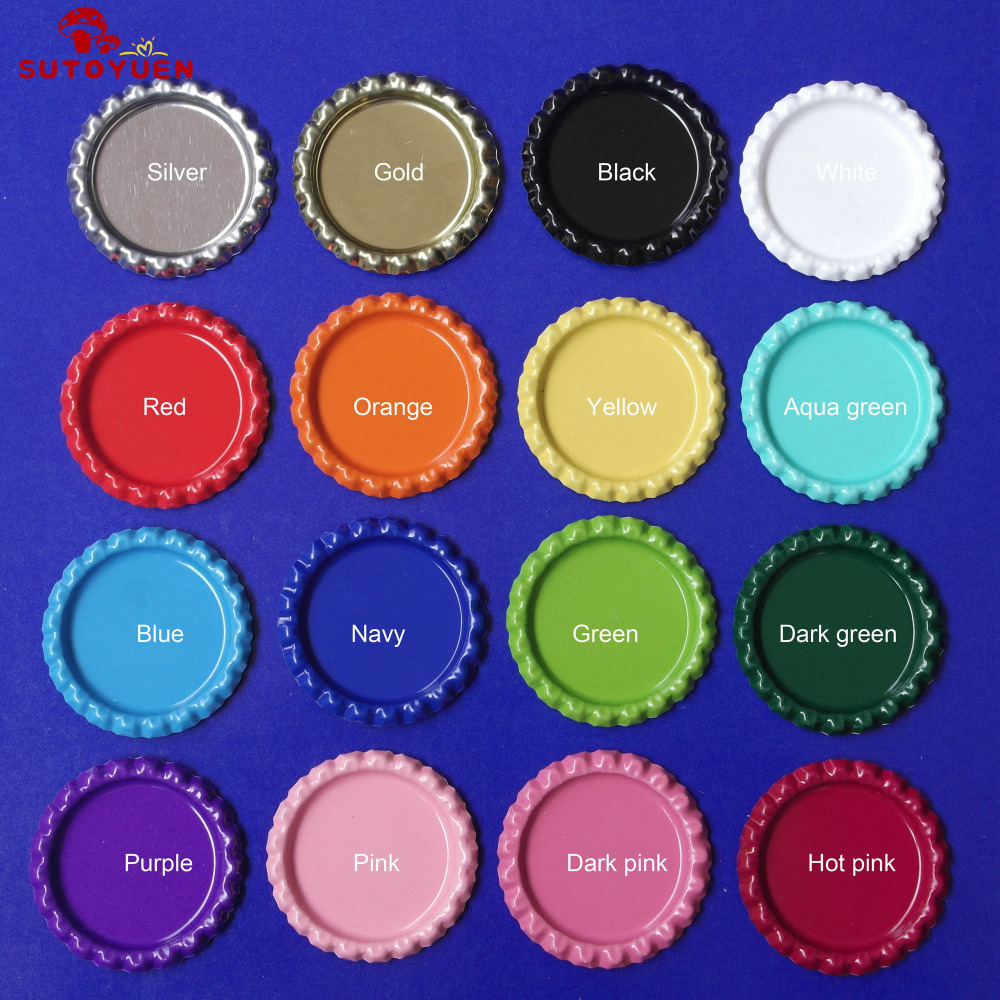 Free Shipping 1200 pcs lot 1 inch Double Side Colored Fattened Bottle Caps Chrom bottlecaps For