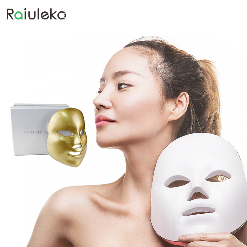 Raiuleko Korea LED Facial Mask 7 Color LED Photon Facial Mask Wrinkle Acne Removal Face Skin Rejuvenation Facial Massage Beauty beurha facial mask led photon wrinkle acne removal beauty spa facial care led device skin rejuvenation electrical skin care tool