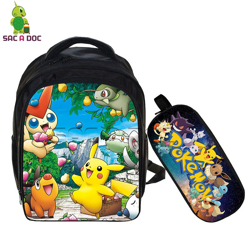 Anime Pokemon 2 Pcs Set School Backpack Children School Bags Pikachu  Mewtwo Printing Pencil Case for Kids Mochila BookbagsAnime Pokemon 2 Pcs Set School Backpack Children School Bags Pikachu  Mewtwo Printing Pencil Case for Kids Mochila Bookbags