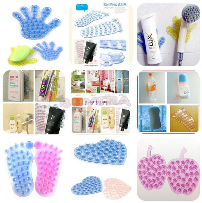 High Quality Bathroom Suction Cup Reversible Anti slip Soap Sucker Double Magic Sucker For Bathroom Mat Holder Mount in Bathroom Accessories Sets from Home Garden