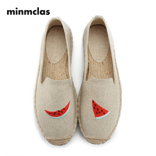 Minmclas Summer Fashion Fruit Watermelon Comfortable Ladies Womens Casual Espadrilles Shoes Breathable Flax Hemp Canvas Girls