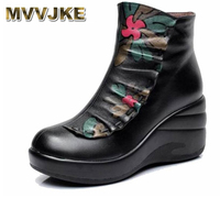 MVVJKE Winter Woman boots Shoes Plush Lady's Boots Women National trend genuine leather boots handmade ankle Shoes flower