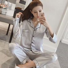 Women Sexy Silk 2 Pieces Sets Satin Sleepwear Pajama Turn-down Collar Long Sleeve Pyjamas Spring 2019 New Fashion