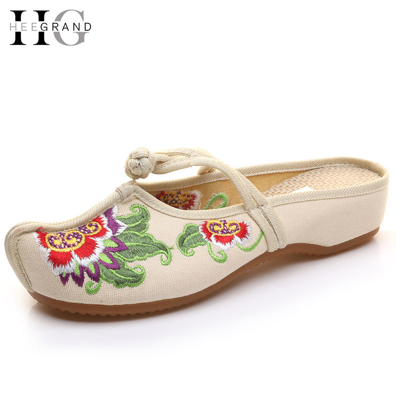 HEE GRAND 2017 Vintage Slippers Summer Platform Slides Casual Shoes Women Embroidered Flip Flops Comfort Slip On Shoes XWD5285 hee grand summer gladiator sandals 2017 new platform flip flops flowers flats casual slip on shoes flat woman size 35 41 xwz3651