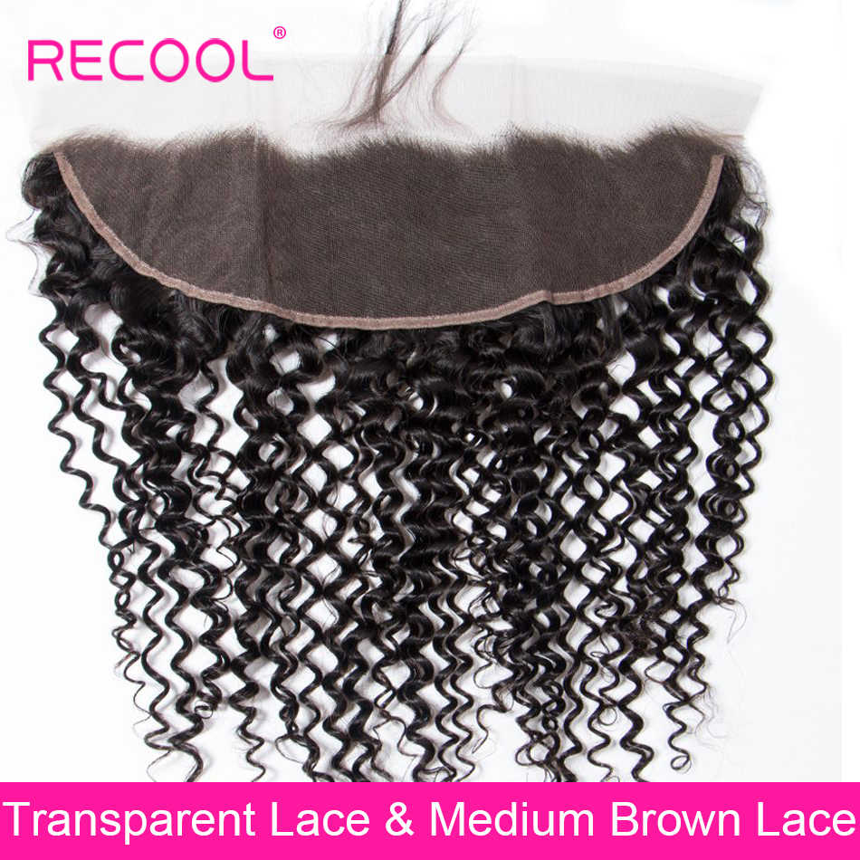 Recool бразильские кудри HD прозрачное кружево фронтальный заказ с сеткой швейцарская шнуровка человеческие волосы кружева лобовое закрытие
