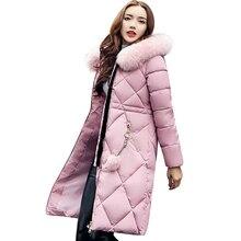 Big fur winter coat thickened parka women stitching slim long winter coat down c
