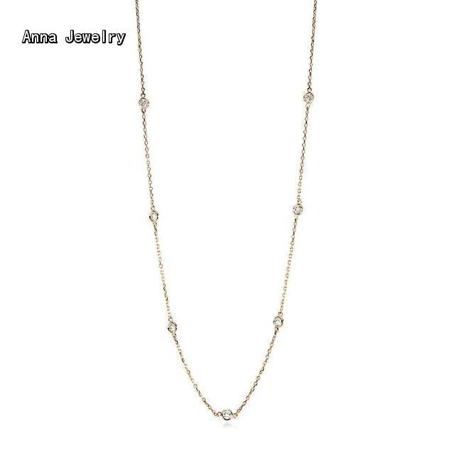 Finest Jewelry Long Chain Sprinkly Stones Necklace,10 Round Stones in 90cm Chain.Can Wear as Long Chain Or Double Tour Necklace