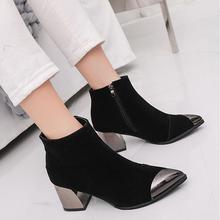 Популярные женские модные ботинки; Осенняя обувь из флока на шнуровке; ботильоны на среднем каблуке; mujer; обувь