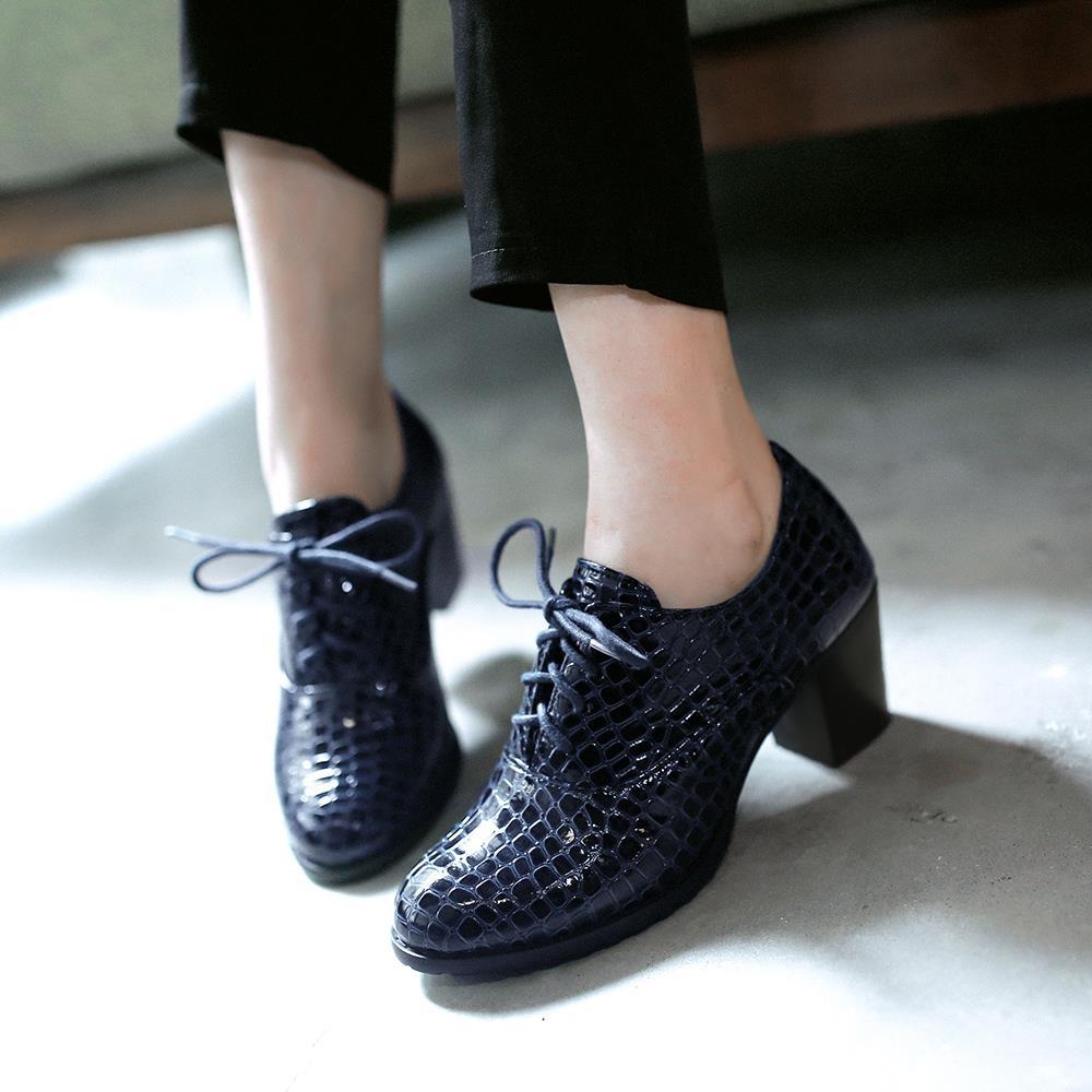 primer nivel zapatillas de skate fecha de lanzamiento € 47.8 |Nueva moda 2016 Crocodile Lade con cordones tacones altos mujeres  zapatos Oxford Vintage charol mujeres bombas Ladies Casual tacones Oxfords  ...