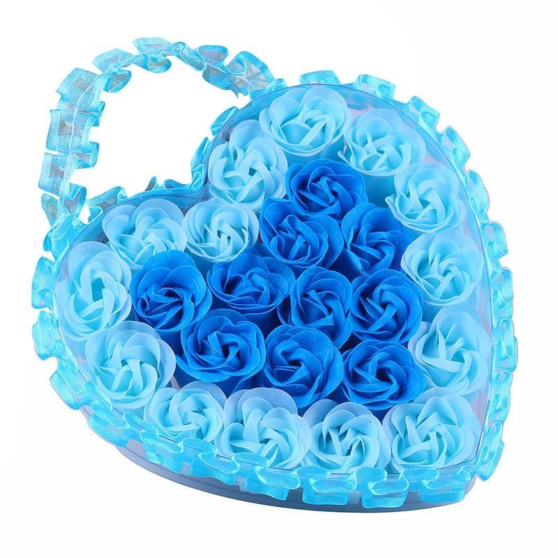 24Pcs Heart Scented Bath Body Petal Rose Flower Soap Wedding Decoration Gift Flavor Paper Fancy Soap