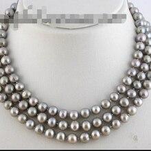 """>>>>> z1594 5"""" 9 мм круглый серый fw жемчужное ожерелье"""