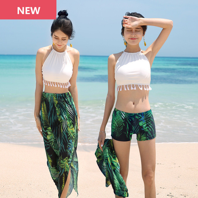 4cfb4e0fee3a0 Three Piece Swimsuit Tassels Crop Top With Green Shorts Cover-Ups Women  Swimwear Bandeau Girl Sexy Sleeveless Beach Bathing Suit
