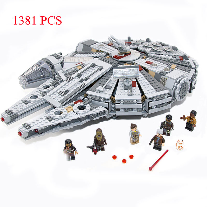 educational toys Star Wars Millennium Falcon Spaceship building blocks set Toys Action Figures educational 1381pcs for boy gifts color metal 3d puzzle star wars millennium falcon for adult 2016 new batman flying wing kylo ren shuttle 3d nano jigsaw puzzles