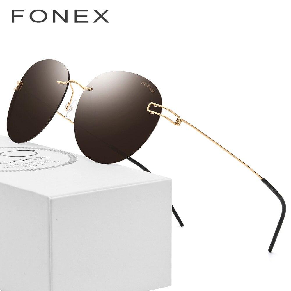 Titanium Alloy Rimless Sunglasses Men Vintage Retro Round Polarized Sun Glasses for Women Korea Denmark Screwless