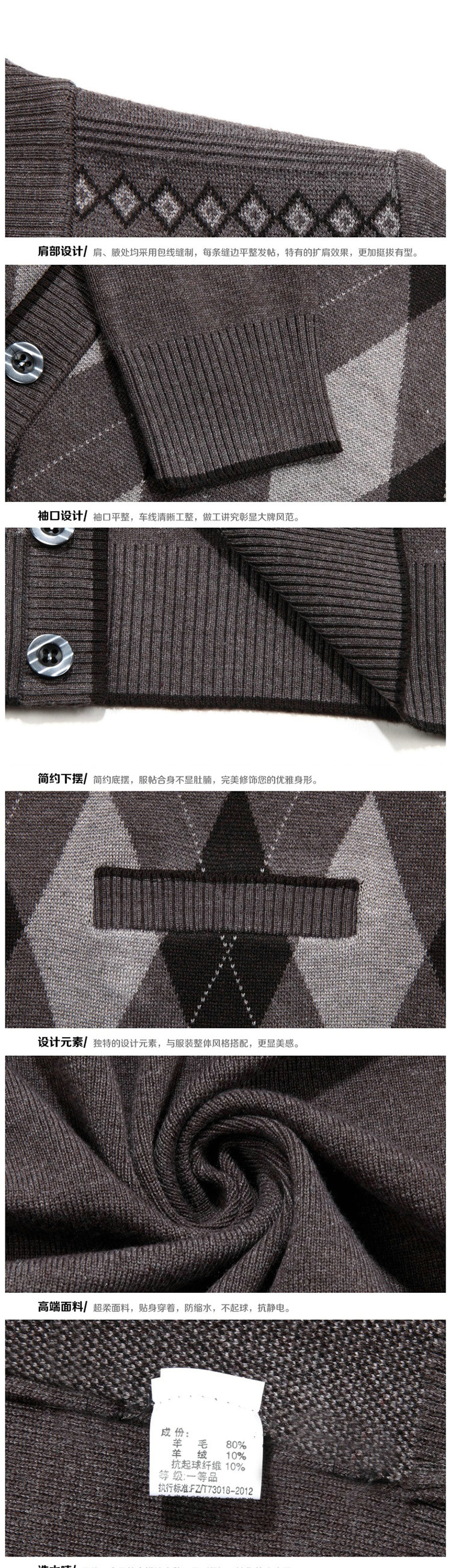 Man Woollen Cashmere Cardigan Sweaters Textured Knitted Sweater Men V-neck Cardigan Elegance Knitwear Business Casual Wear (1)
