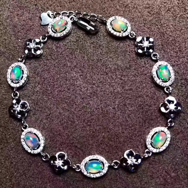 Natural Multicolor Opal Gem Bracelet Gemstone Elegant Lucky Clover Round 925 Silver Party