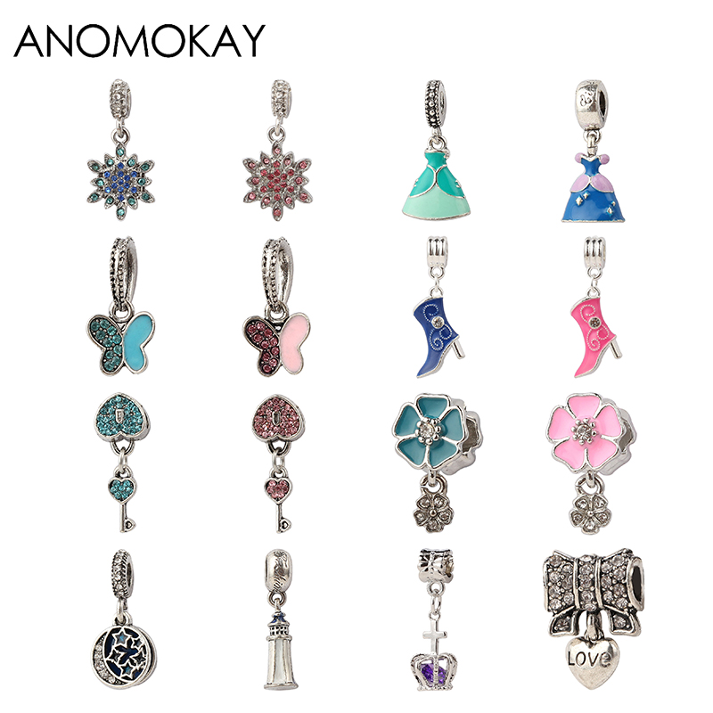 Beads & Jewelry Making Beads Purposeful 2 Pcs/lot Mix Style Snowflake Princess Dress Butterfly Heart Flower Crown Pendants Charm Beads Fit Original Diy Pandora Bracelet Various Styles