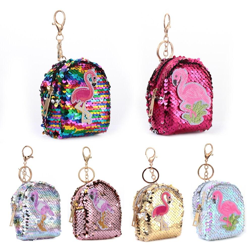 Women Kids Mini Flamingo Coin Purse Sequins Coin Bag Small Wallet Mini Backpack Keys Pouch Card Holder Earphone Bags Kids Gift
