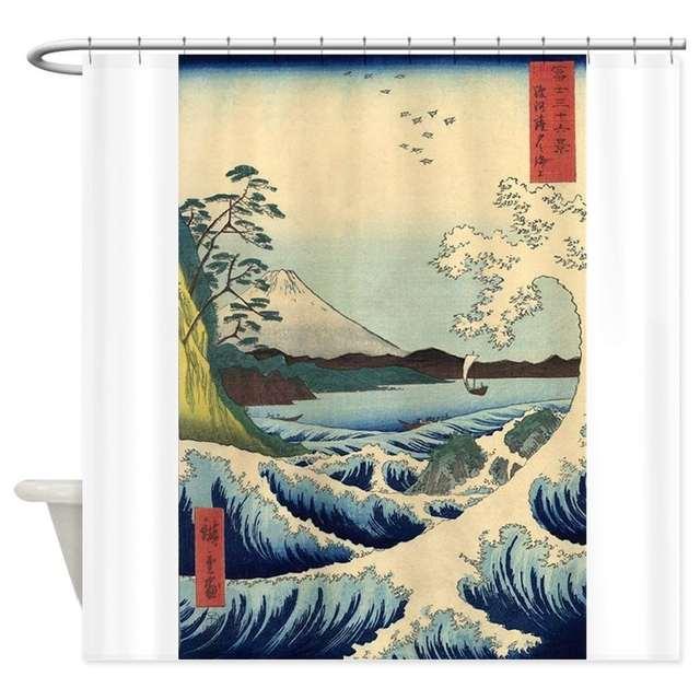 Online Shop Big Waves Mount Fuji Vintage Japanese Art Shower Decorative Fabric Curtain Set Non Slip Bathroom Mats Home Room Doormat