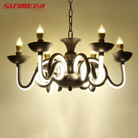 Nordic Loft Vintage Wrought Iron Chandelier Curved Arm Glows Lustres Decoration Home Lighting Foyer Kitchen Led