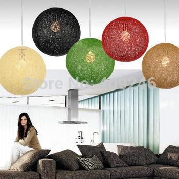 2017 New DIY Handmade Knitted Wicker Ball Led E27 Pendant Light Rattan Ceiling Lamp Twiner Restaurant Bar Home Decor Lighting 4pcs new for ball uff bes m18mg noc80b s04g