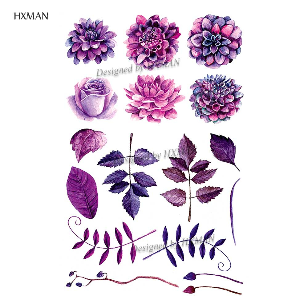 HXMAN Flower Temporary Tattoo Sticker Waterproof Fashion Women Arm Fake Face Body Art 9.8X6cm Kids Adult Hand Tatoo P-050