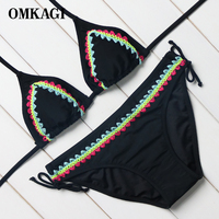 OMKAGI Brand 2017 Patchwork Black Crochet Bikini Set Neck Bandage Adjustable Bikinis Women Swimsuit Swimwear Beach