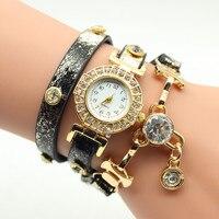 Bling de lujo de Las Mujeres Reloj de Cuarzo Relojes de Pulsera Relogio Feminino Reloj Pulsera de Cristal Colgante de Las Mujeres Correa de Cuero del Regalo del Amor