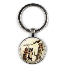 цены Retro cute cat character key ring personality picture male and female sex key chain car key door accessories party souvenir gift