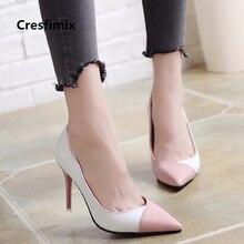 Cresfimix women fashion 2018 high quality pu leather slip on high heels lady cut