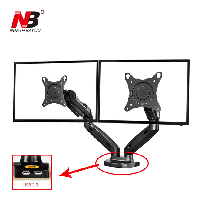 Gas Spring 360 Degree Desktop 17-27 Dual Monitor Holder Arm NB F160 with Two USB Ports 2.0 Full Motion Dual Monitor Support ...