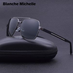 Image 4 - 2019 High Quality Square Sunglasses Men Polarized UV400 Sport Sun Glasses For Male Driving Gold Frame Retro oculos With Box