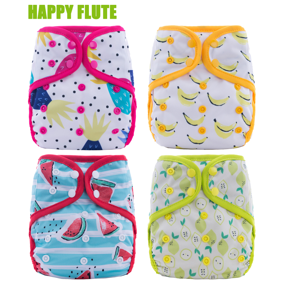 5Pcs U Pick Happy Flute Diaper Cover One Size Cloth Diaper PUL Breathable Reusable Diaper Covers For Baby Fit 8-35 Pounds