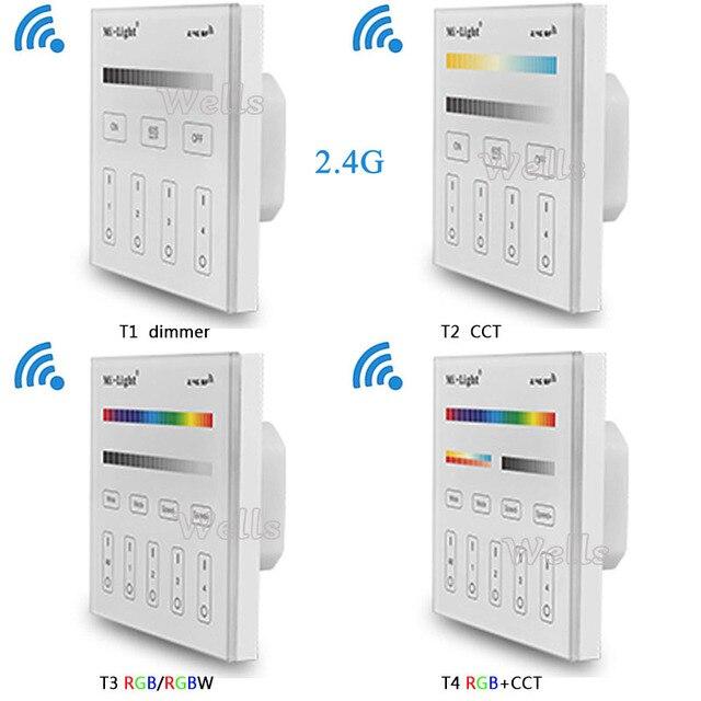 Mi Light 2.4G T1/T2/T3/T4 4 Zona Smart Touch Panel LED Dimmer Redup mi Ng/RGB/RGBW/RGB + CCT Kecerahan LED Controller untuk LED Strip