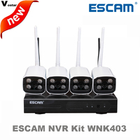 Escam 4ch WI FI NVR комплект wnk403 Беспроводной NVR комплект P2P 720 P HD Открытый ИК Ночное Видение безопасности IP Камера WI FI CCTV Системы