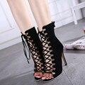 2016 Novo Verão Botas de Salto Alto Mulheres Sandálias E Sapatos de Salto Plataforma de Moda Com Calcanhar Aberto Preto Sapatos Femininos de Verão Bombas