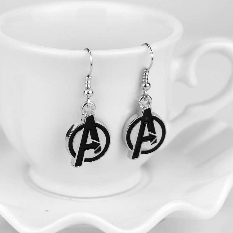 dongsheng The Avengers Alliance Earrings for Women Marvel Avengers Logo A Initial Drop Earrings Movie Jewelry -15