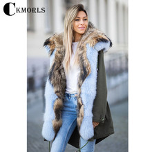 04dc98772bfc1b CKMORLS New Fashion Luxury Parkas With Real Fur Collar Thick Warm Coats  White Fox Fur Jacket
