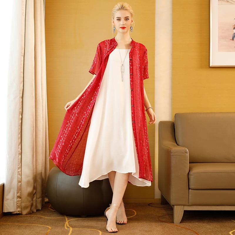 Tissbely 2018 été manches courtes robe Cardigan femmes rouge noir vert lâche femmes mode robes Cardigan