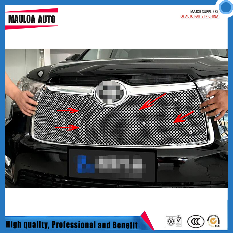 304 Stainless fit well modification car front grille racing grills grill cover trim for Highlander 2012 12 2013 13 2015 15 2016