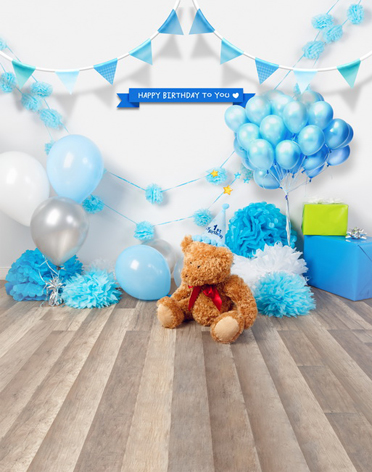 Blue Balloons Flags Birthday Party Theme Kids Backdrops High Grade Vinyl Cloth Computer Printed Children
