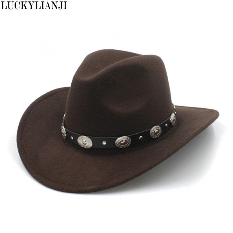 LUCKYLIANJI 100% Wool Felt Kid Child Western Cowboy Hat With Wide Brim Punk Leather Belt  Jazz Cap (Size:54cm Adjust Rope)